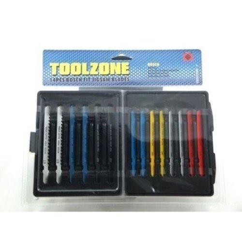 Toolzone 14pc Fit Jigsaw Blades - Set Wood Plastic Metal Black Decker Fitting -  jigsaw set 14pc blades wood plastic metal fit black decker fitting