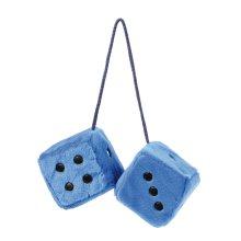 7 x 7cm Blue Furry Dice Car Hangers - Black Sume Dots Dados40 -  blue black furry dice sumex dots dados40