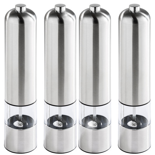 4 electric salt and pepper grinders made of stainless steel with lamp - silver