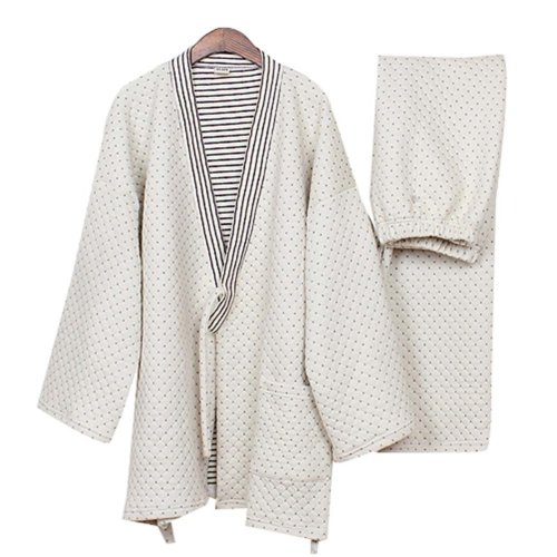 Cotton Air Layer Pajamas Suit Tracksuit Bathrobe Men's Kimono Pajamas Thickening