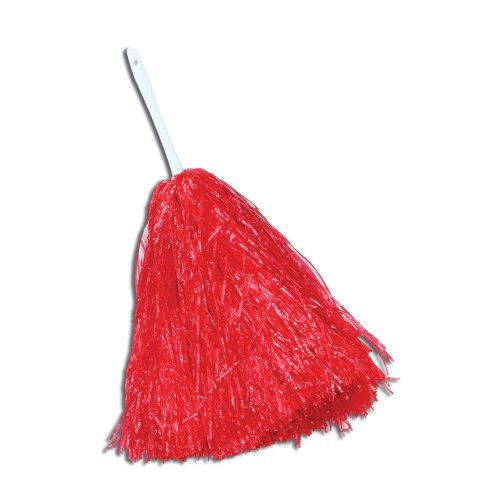 Large Red Cheerleader's Pom Pom - Fancy Dress Cheerleader Accessory Cheerleader -  pom large fancy dress cheerleader red accessory POM CHEERLEADER