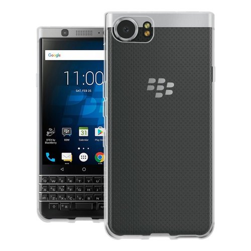 InventCase Premium TPU Gel Case Cover Skin for the BlackBerry KEYone 2017 - 100% Transparent / Clear
