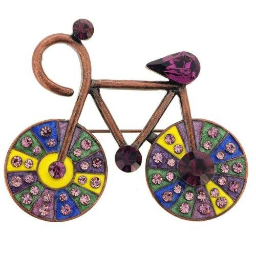 632d33422a9 Fantasyard Vintage Style Crystal Bicycle Pin Brooch - Amethyst - 2.25 x  1.875 in. on OnBuy