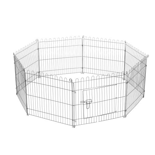 Pawhut 8 Panel Pet Cage Playpen Dog Puppy Metal Cage Kennel Indoor Outdoor