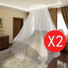 vidaXL Mosquito Net 2 pcs Round 56x325x230 cm