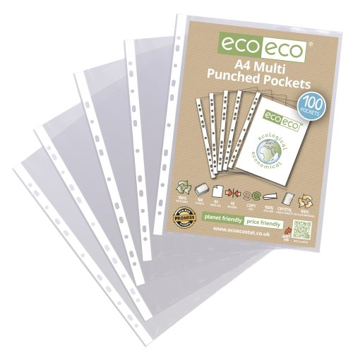 A4 CLEAR PUNCHED POCKETS PLASTIC SLEEVE WALLETS ECO010