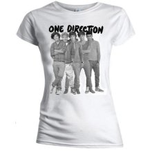 Small White One Direction Group Standing Black And White Ladies T-shirt.
