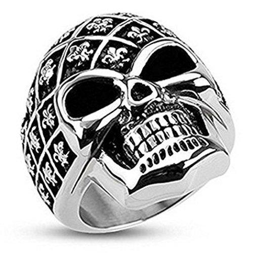 Decorated Fleur De LIs Skull Wide Cast Surgical Steel 30mm Width Ring