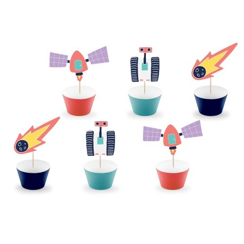 Space Party Cupcake Kit with Toppers x 6 Rockets