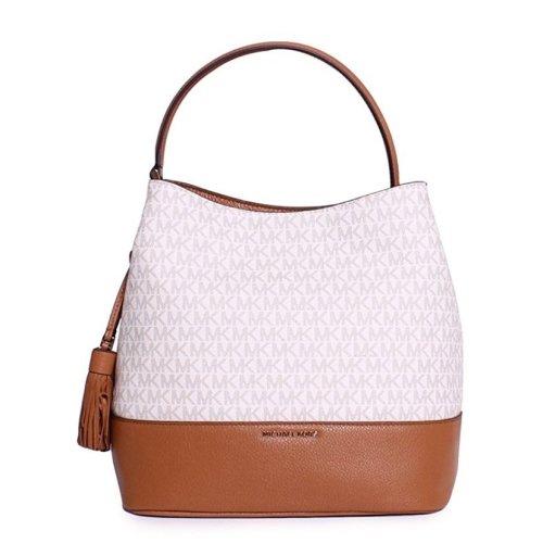 Michael Kors Kip Large Bucket Bag - Vanilla / Acorn - 30H6GK8M3B-149