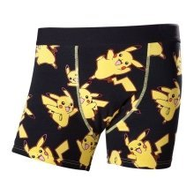 Pokemon Adult Male Dancing Pikachu All-Over Pattern Boxer Short Small - Black