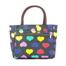 Lovely Medium Colorful Hearts Printed Tote Bag Purse Handbag With Zipper