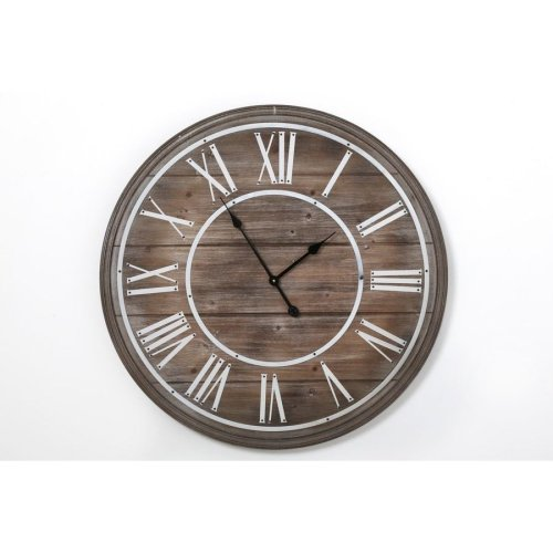 80X5Cm Large Elegant Wooden Wall Clock Home Kitchen Office Roman Numericals