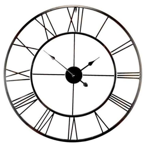 40cm Black Metal Roman Numeral Wall Clock Outdoor Giant Open Face