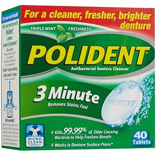 Polident 3-minute for cleaner,fresher and brighter denture 40-ea