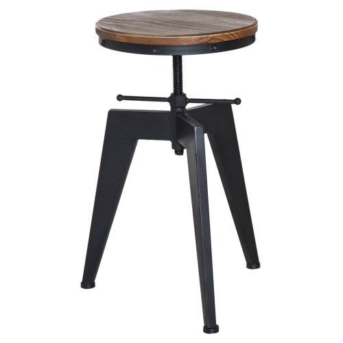 Remarkable Homcom Vintage Industrial Bar Stool Height Adjustable Swivel Kitchen Dining Stool Chair Round Natural Pinewood Seat Metal Leg Type D Short Links Chair Design For Home Short Linksinfo