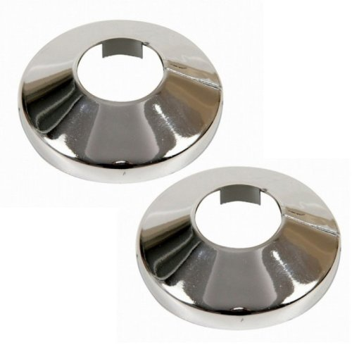 2 Pieces Pvc Chromed Radiator Pipe Cover Collar Rose 15mm X 2