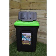 15.5Kg 30L Black Dog/Pet Food Storage Container Box With Green Lid & Rubber Seal [1]