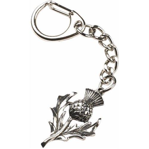 Scottish Thistle Keyring Pewter Key Chain Ring Souvenir Gift Bag Purse Charm Scotland