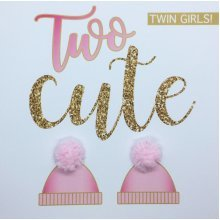 'Two cute' new twin girls birth congratulations card with pom poms