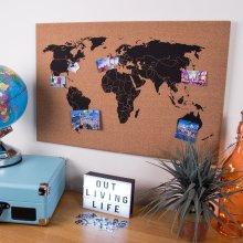 Global Gizmos Corkboard World Map Wall Hanging Decoration Memo Board 60x40cm Including Pins, Wood, Brown, 60 x 3 x 40 cm