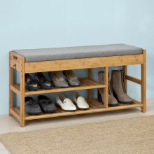 SoBuy® FSR47-N, Bamboo Shoe Rack Shoe Bench with Lift Up Bench Top & Seat Cushion