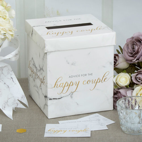 Scripted Marble Wedding Wishes Post Box for Cards Wedding Advice