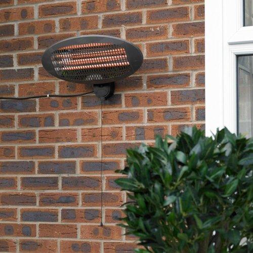 Kingfisher Garden Electric Wall Heater Outdoor Quartz Patio Heater 3 Settings Wall Mounted