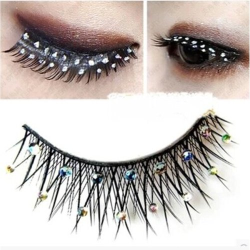 Handmade Stage Performances Exaggerated Rhinestone False Eyelashes5 Pairs