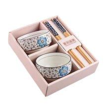Wedding Business Gift Package Home Tableware Set Chopsticks/Bowls 4PCS-Blue