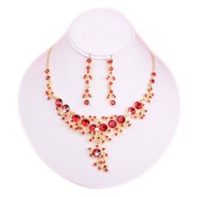 Beautiful Dress Accessories Wedding Necklace and Earrings Jewelry Set for Bride
