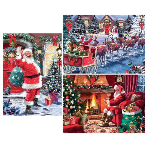 Falcon Deluxe Christmas Collection 3 3-in-1 Jigsaw Puzzles (3 X 1000 Pieces)