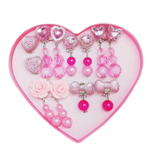 Box Set Pretend Play Toy Girls Princess Party Favor Jewelry Clip On Earrings Value Pack Gift,E