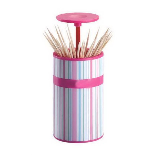 Fashion Lovely Toothpick Holder Living Room Portable Toothpick Tube Pink Stripes