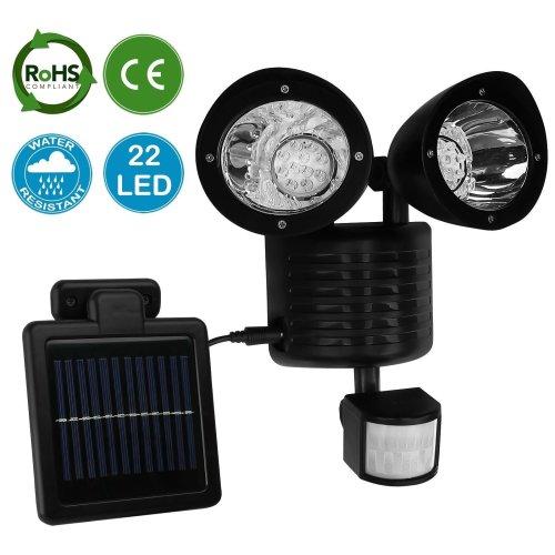 AMOS 22 LED Solar Powered PIR Motion Sensor Security Light Garden Outdoor Lamp