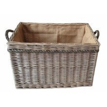 Large Antique Willow Rectangular Log Basket