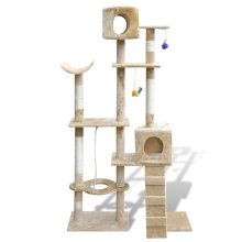 Cat Tree Cat Scratching Post 175 cm 2 Condos Beige