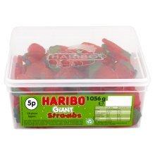 Haribo Giant Strawberries Sweets Tub 120's