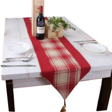 """71"""" by 13"""" Red Rustic Checker Table Runner Polyester & Cotton Table-cloth"""