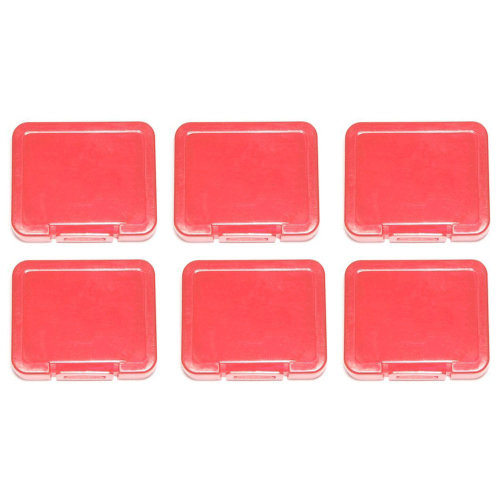 Individual tough plastic cases for SD SDHC SDXC & Micro SD memory cards semi transparent - 6 pack red - Assecure