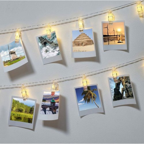 10 LED Photo Peg Clip Fairy String Lights Wedding Party Hanging Picture