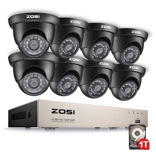 ZOSI 8 Channel Security Camera System w/1TB Hard Drive HD Smart CCTV Camera  System 1080N CCTV DVR w/8 x 1280TVL 720P 1 0MP Dome Cameras Outdoor