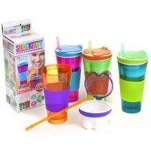 2 In 1 Snack Easy Snack/drink Cup - Drink All One New Box Straw Green Blue Pink -  drink cup snack all one new easy box straw green blue pink orange