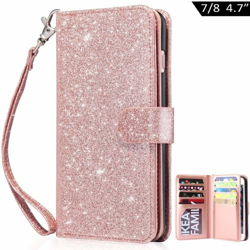 Dailylux iPhone 8 Wallet Case, iPhone 8 Cases,iPhone 7 Wallet Case Premium Soft PU Leather Magnetic Closure Flip Wallet Case with 9 Card...