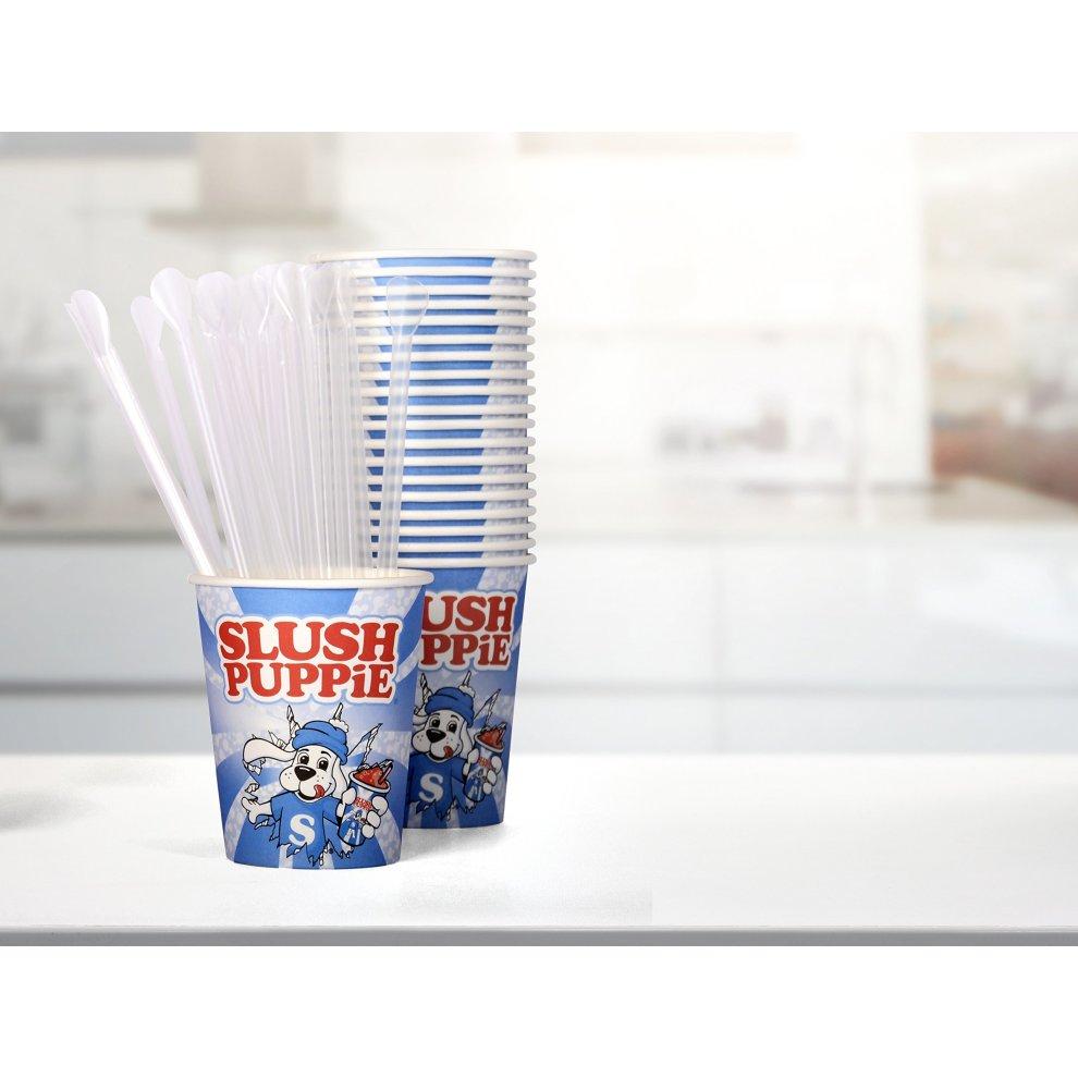 Slush Puppie 20-Piece Paper Cups and Straws, Plastic, White/Blue, 25 x 8 5  x 9 cm