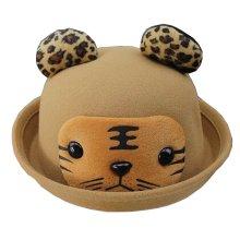 [Tiger Khaki] Fashion Baby Woolen Hat Children Bucket Hat Bowler Hat