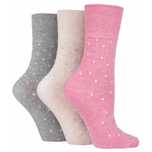 2a333dc64edcc 3 Pairs Ladies Pink Grey Beige White Spotted Cotton Gentle Grip Socks, Size  4-8 on OnBuy