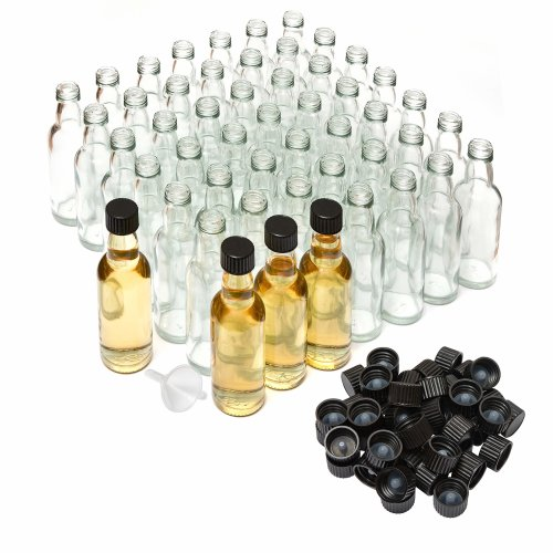 50ml Miniature Glass Spirit Bottle with Screw Top - Black (Pack of 50) By Better Bottles with Mini Funnel for Bottle Filing
