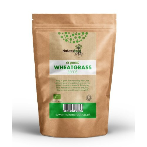 Natures Root Organic Wheatgrass Sprouting Seeds 250g - Superfood   Non GMO   Microgreen Sprouts   Garden Planting   Wheat Grass Juicing   Cat Grass