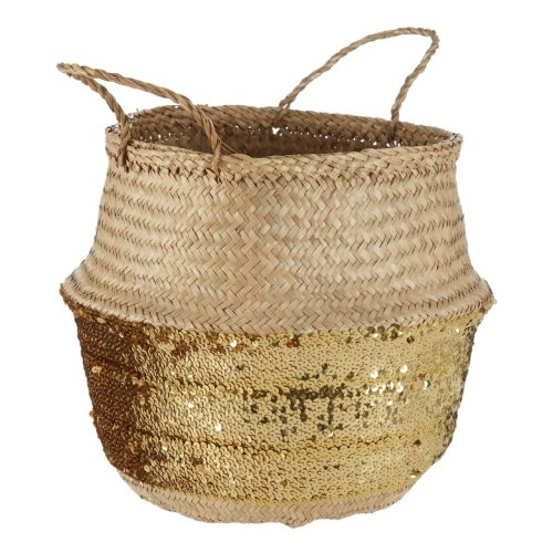 Natural Seagrass Basket Gold Sequin Base, Large